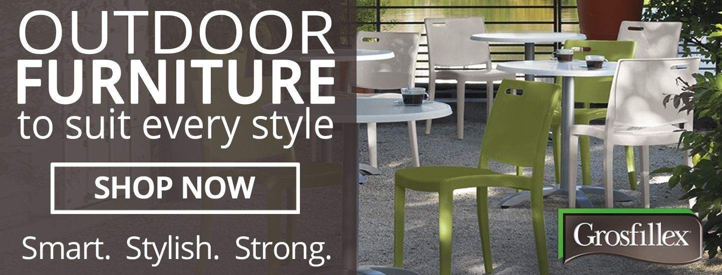 Furnish your outdoor patio and dining space with durable, versatile and stylish chairs, tables and umbrellas from Grosfillex.