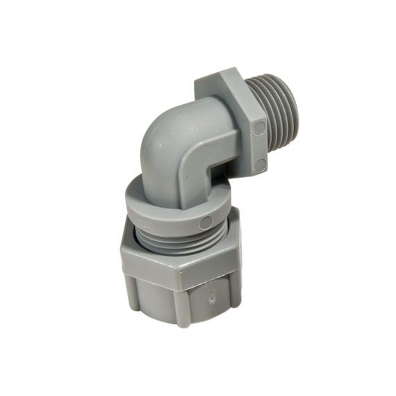 "Cord Connector, nylon, 90 deg, 1/2"" NPT, cable range .375 - .438"